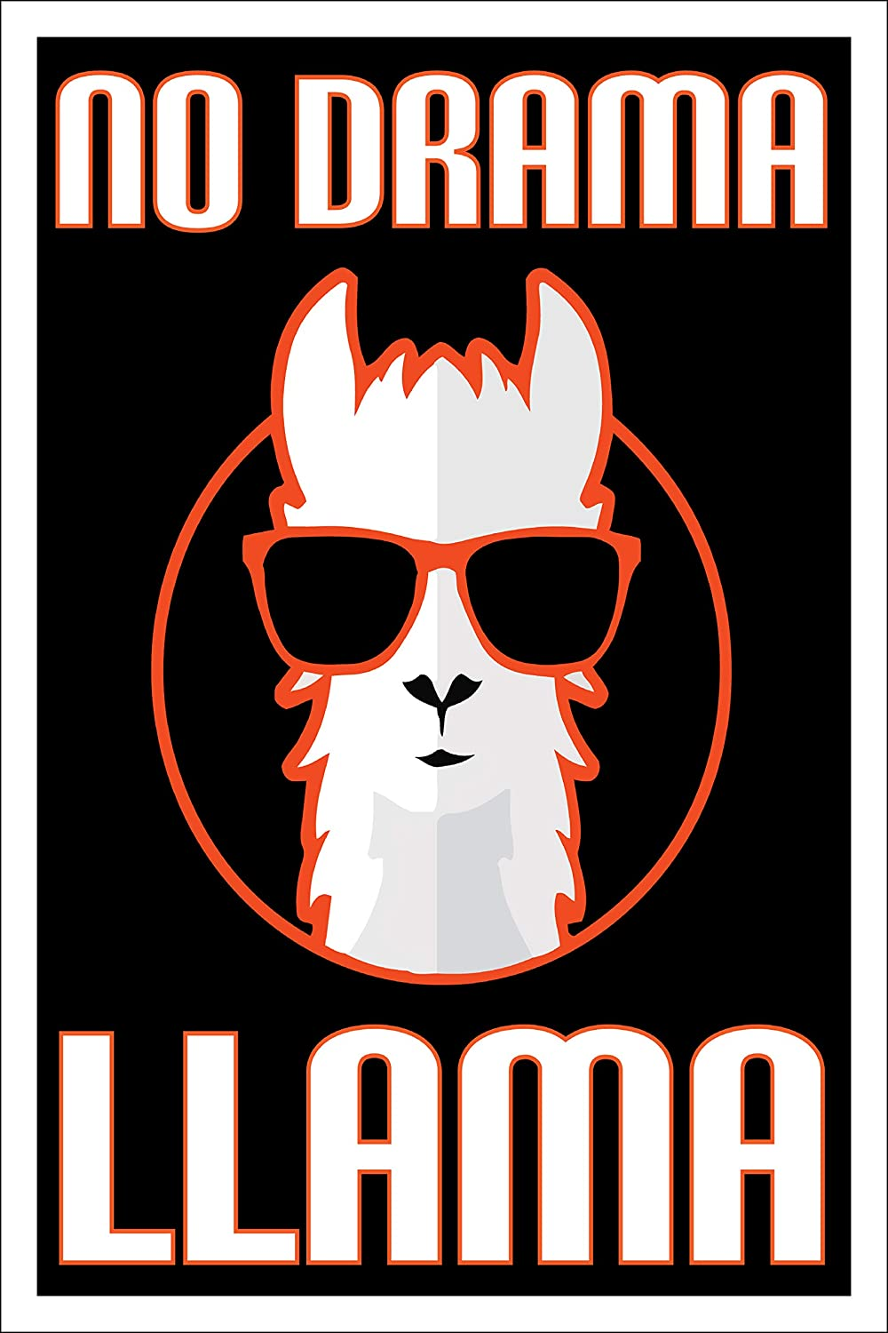 Spitzy's No Drama Llama Funny Poster, 12x18 Inches, Decoration for Bedroom, Boys and Girls, Funny Rhyming Quote Wall Decor
