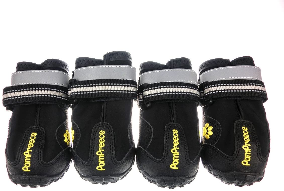 Lymenden Dog Boots,Waterproof Dog Shoes,Paw Protectors with Reflective and Adjustable Straps and Wear-Resisting Soles, 4pcs