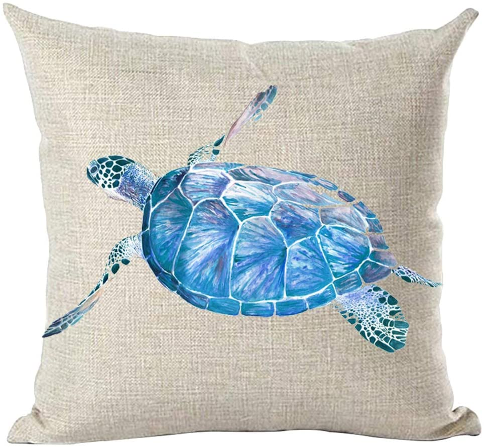 ramirar Hand Painted Ink Oil Painting Watercolor Beautiful Blue Sea Turtle Summer Decorative Throw Pillow Cover Case Cushion Home Living Room Bed Sofa Car Cotton Linen Square 18 x 18 Inches