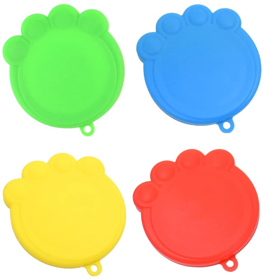 POPETPOP 4-Pack Silicone Pet Can Covers BPA Free Dog Cat Food Can Lids for Multiple Sizes