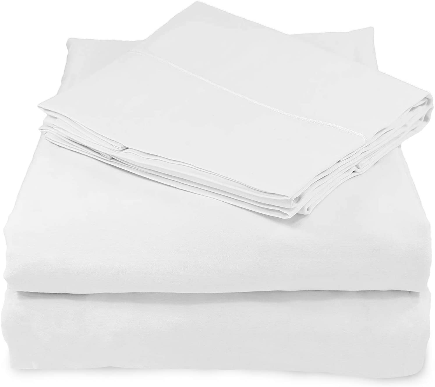 Whisper Organics, 100% Organic Cotton Sheets - 300 Thread Count Bed Sheets Set - Premium Quality Hypoallergenic Sheets - Deep Pocket Twin Sheet Set - GOTS Certified, White (Twin XL Size)