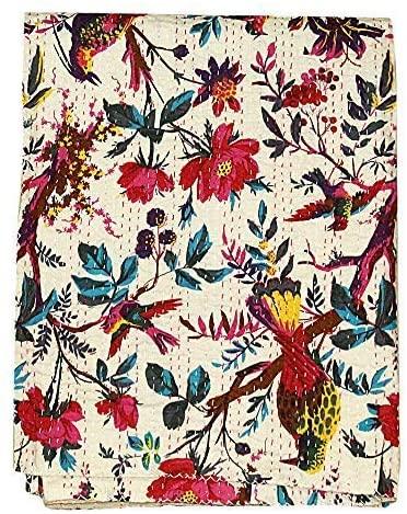 FashionShopmart Bird Print Twin Size Kantha Quilt, Kantha Blanket, Bed Cover, Twin Kantha Bedspread, Bohemian Bedding Kantha Size 90 Inch x 60 Inch, Bohemian Decor