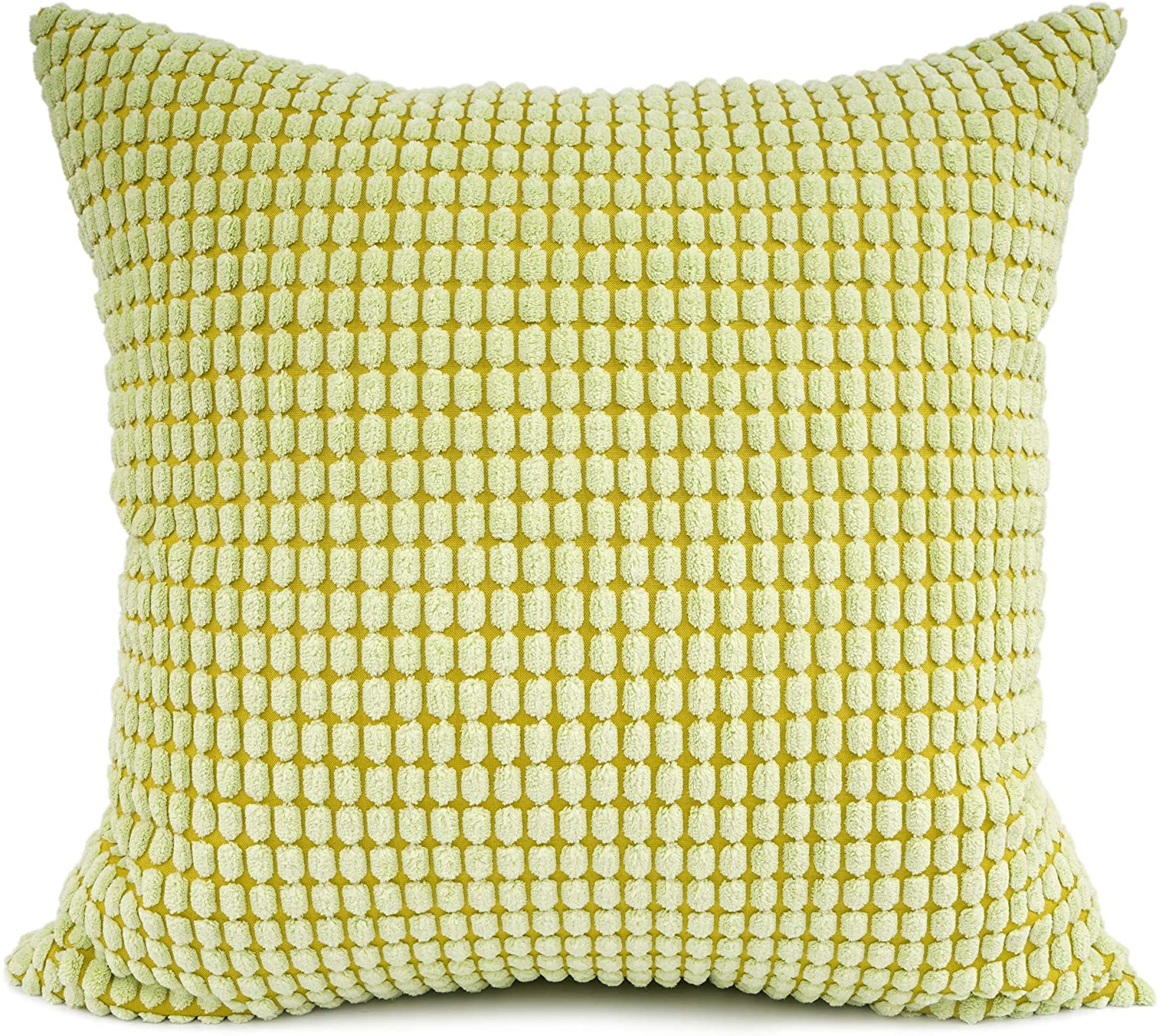 YOUR SMILE Cozy Bolster Pillow Cover Case for Couch Sofa Bed Comfortable Supersoft Corduroy Corn Striped Both Sides 22 X 22 Inches,Green