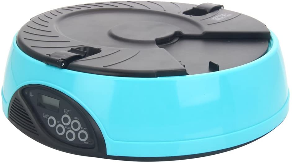 CATNON 6-Meal Automatic Pet Feeder Auto Pet Feeder for Dog, Cat & Other Small Pet - Light Blue