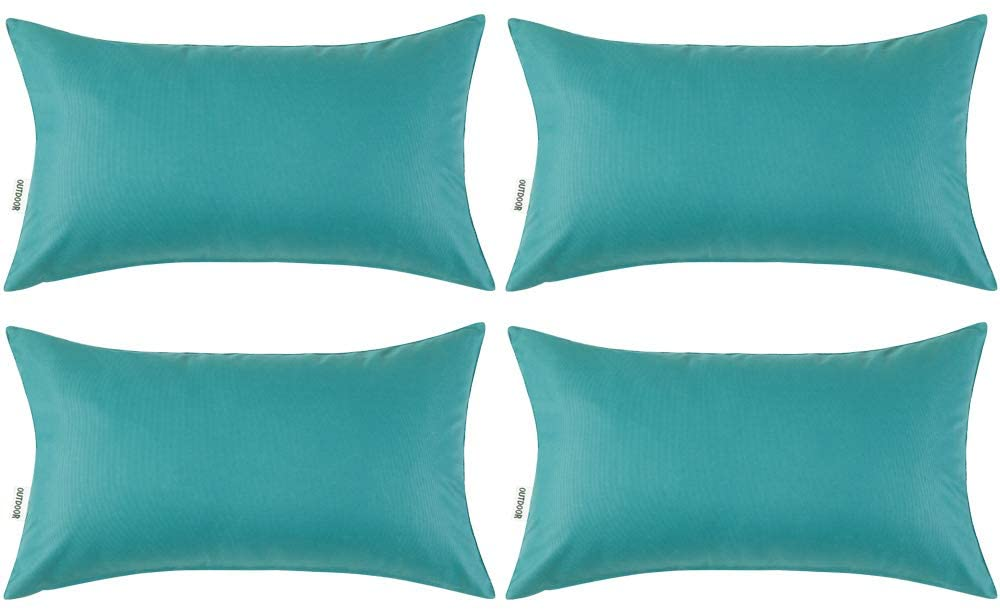 MIULEE Pack of 4 Decorative Outdoor Waterproof Pillow Covers Garden Cushion Cases PU Coating Throw Pillow Cover Shell for Patio Tent Park Couch 12x20 Inch Teal
