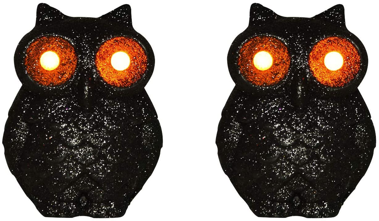 COVFEVER Battery Powered Decorative Halloween Owl with Eyes Night Lights, Perfect Halloween Decorations for Indoor Outdoor Tablescape Porch Bedroom Yard Garden(Black-Black)
