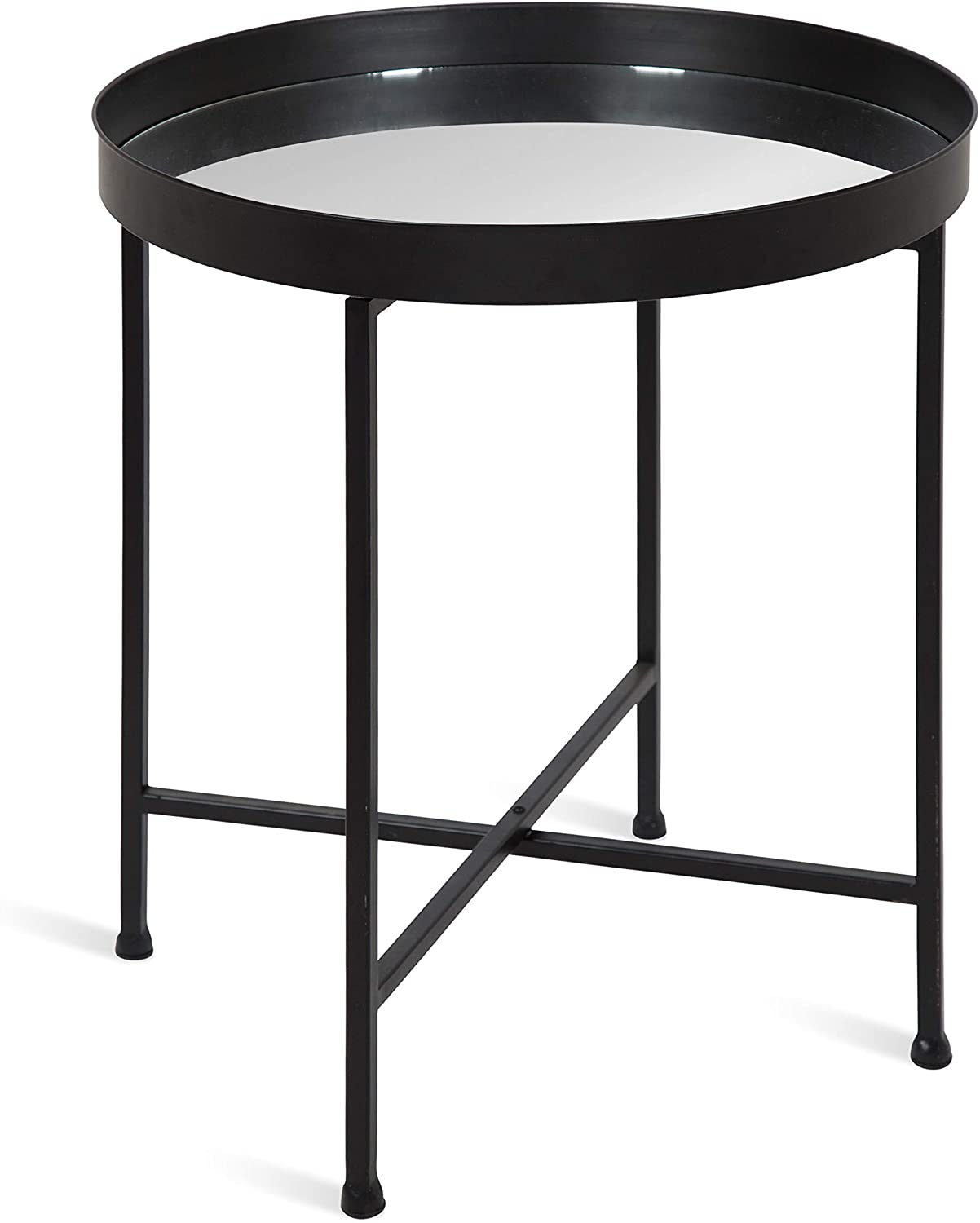 Kate and Laurel Celia Metal Foldable Round Accent Table, 18.25