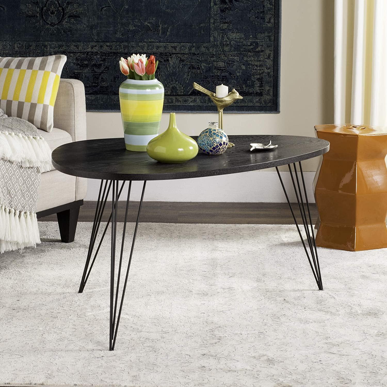 Safavieh Home Collection Rocco Retro Mid-Century Black Wood Coffee Table
