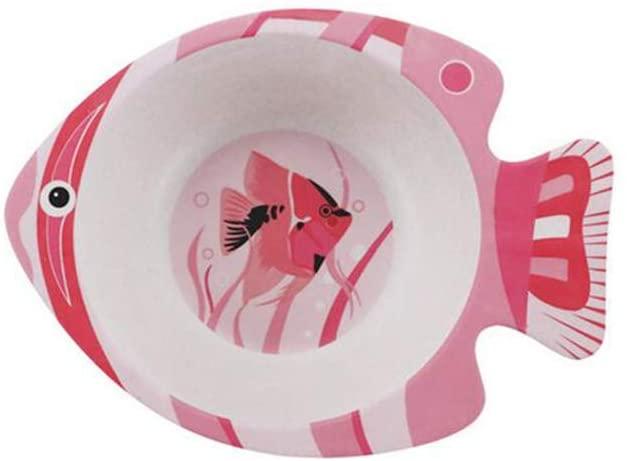 Chiatai Bamboo Fiber Kids Bowl,Toodler Baby's Dinner Cutlery Feeding Dish Bowl Cute Animal Shape Pink Fish