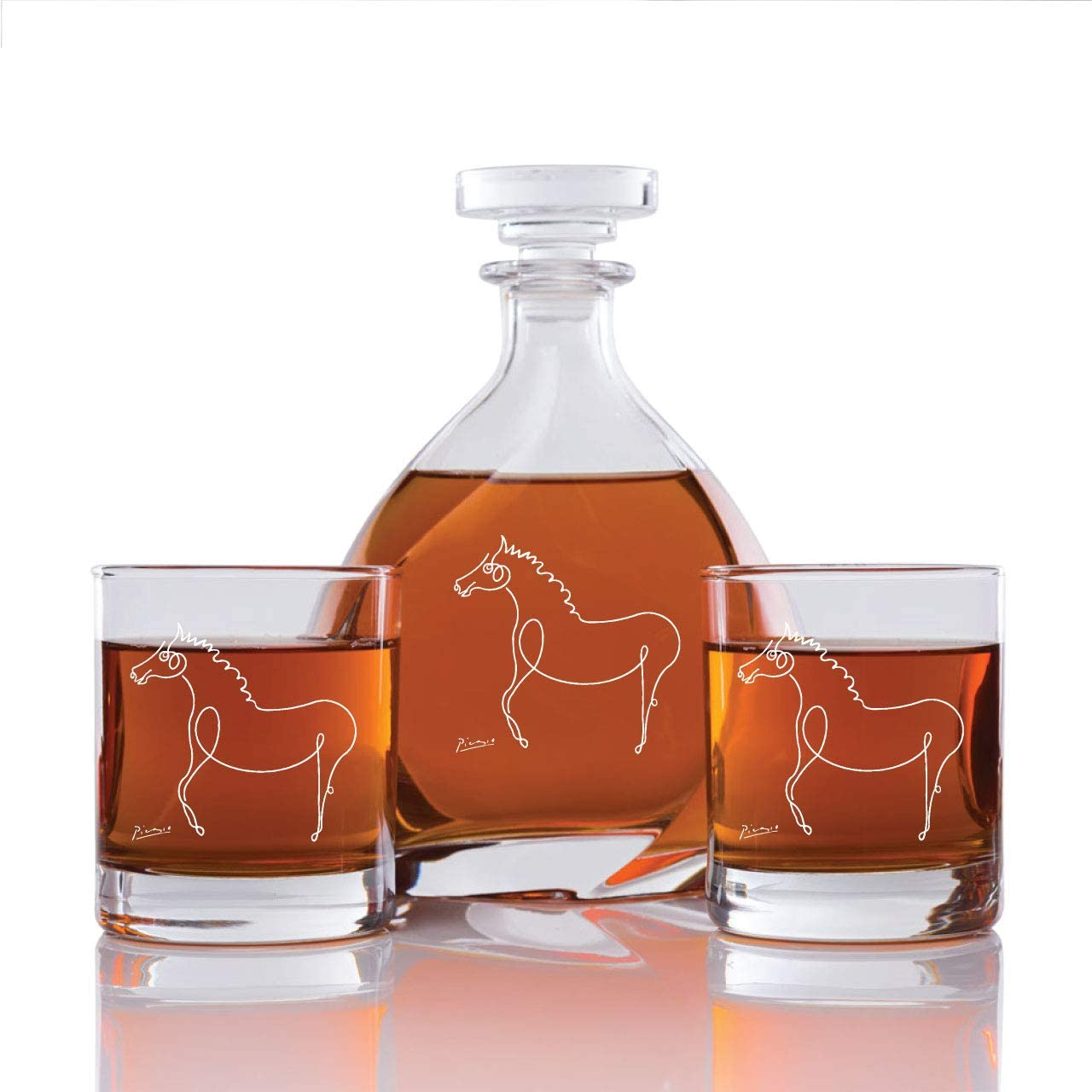 Engraved Picaso Horse - Madison Ave Decanter Set with Rocks Glasses - 3pcs