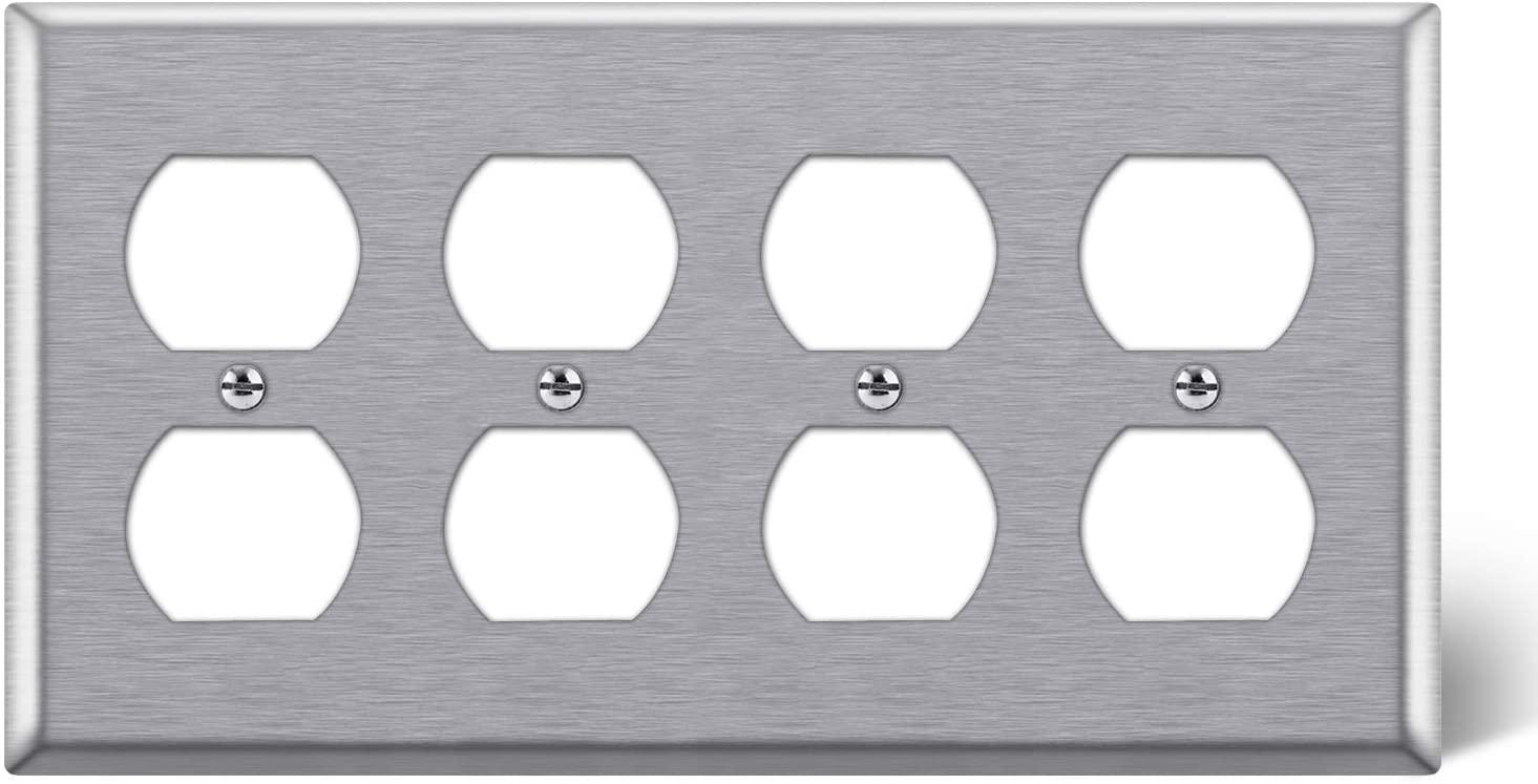 BESTTEN 4-Gang Metal Wall Plate for Duplex Receptacle Outlet, Standard Size 4.5