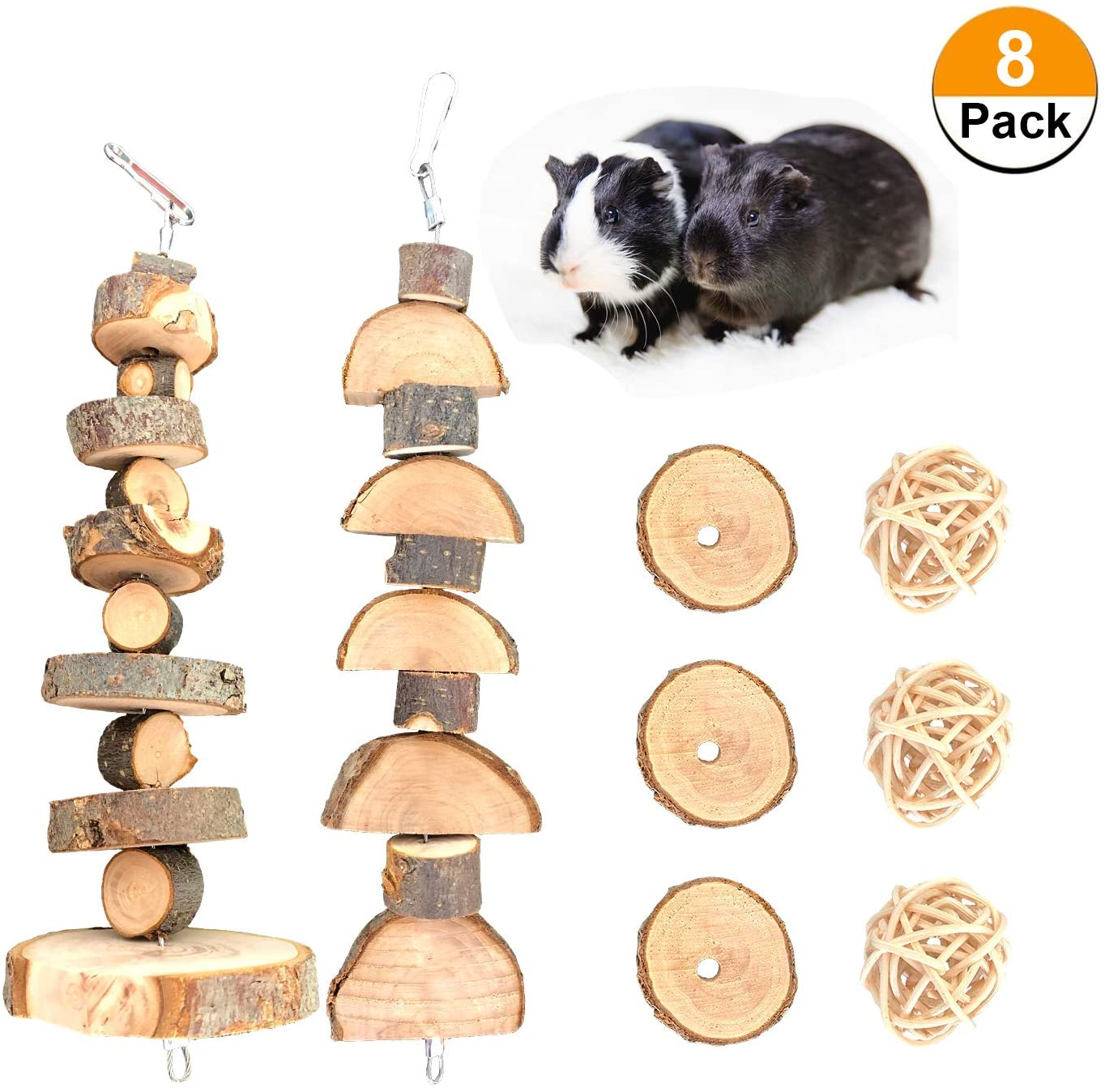 S-Mechanic Bunny Chew Toys Natural Apple Wood Small Animal Chew Toys for Rabbits Chinchilla Hamsters Guinea Pigs Gerbils