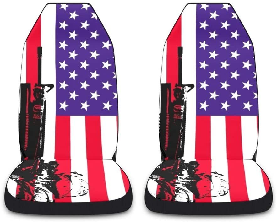 CUXWEOT USA Flag Marine Car Seat Covers for Front Set of 2 Vehicle Seat Protector Car Pet Mat Fit Most Car,Truck,SUV,Van