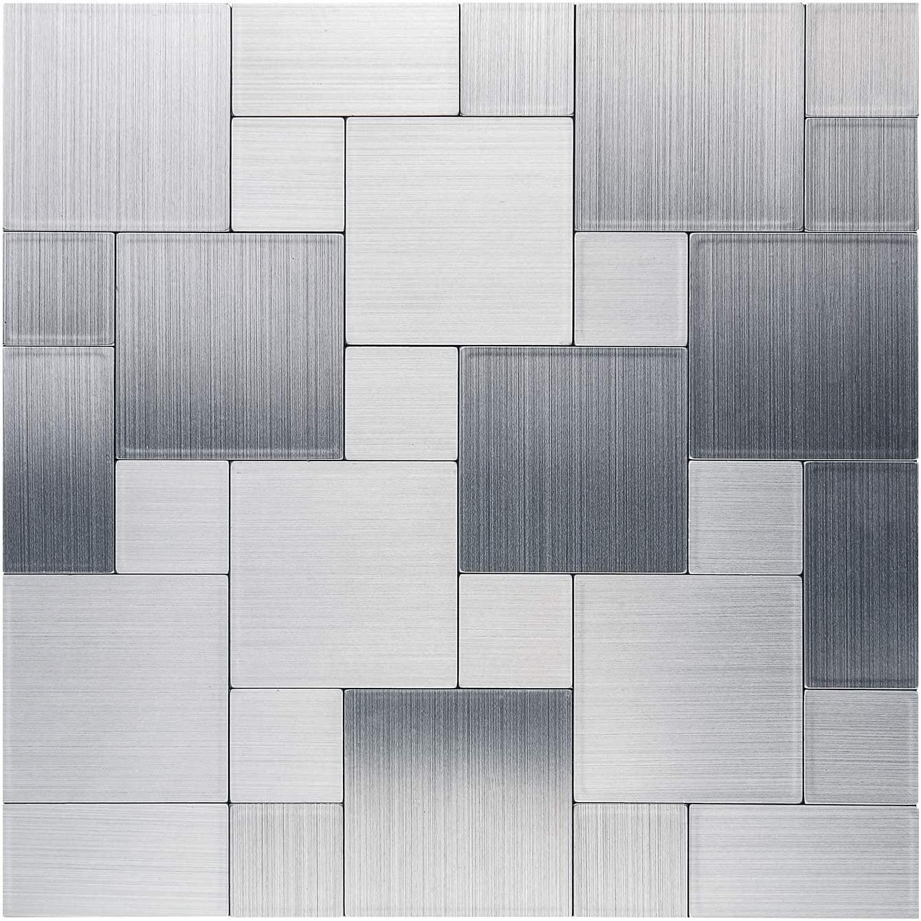 LK 5pcs Premium Self-Adhesive Metal Tiles - Peel and Stick Backsplash Tiles for Kitchen (LKB6203, 12