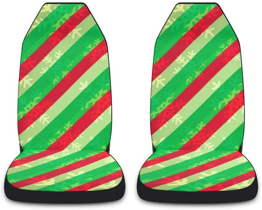 CUXWEOT Christmas Stripe Car Seat Covers for Front Set of 2 Vehicle Seat Protector Car Pet Mat Fit Most Car,Truck,SUV,Van