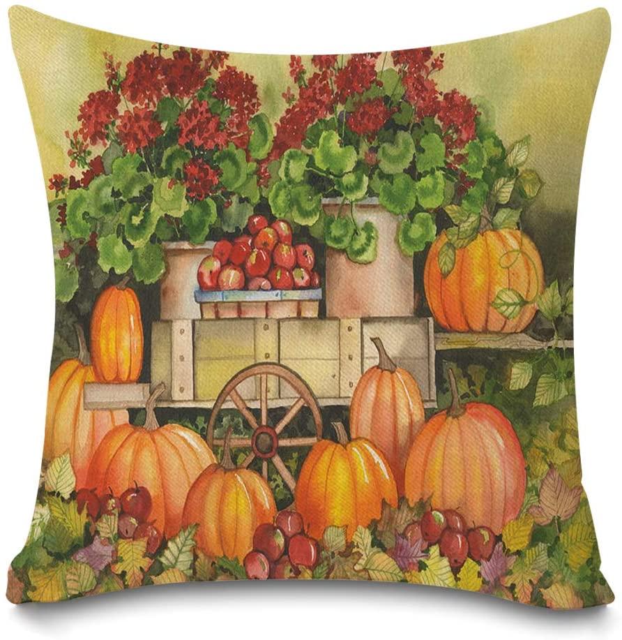Faromily Fall Harvest Pumpkin Pillow Covers Farmhouse Maple Leaves Farm Fresh Apples Flowers Home Decor Cushion Covers Throw Pillow Cases Cotton Linen 18 x 18 inch