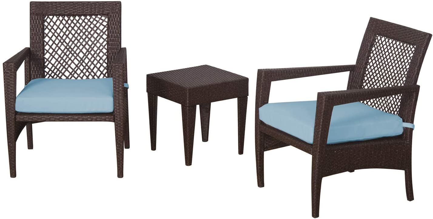 Auro Brisbane Outdoor Furniture   3 Piece Rattan Patio Set   All-Weather Brown Wicker Bistro Set with 2 Water Resistant Blue Olefin Cushioned Chairs & End Table   Porch, Backyard, Pool, Garden