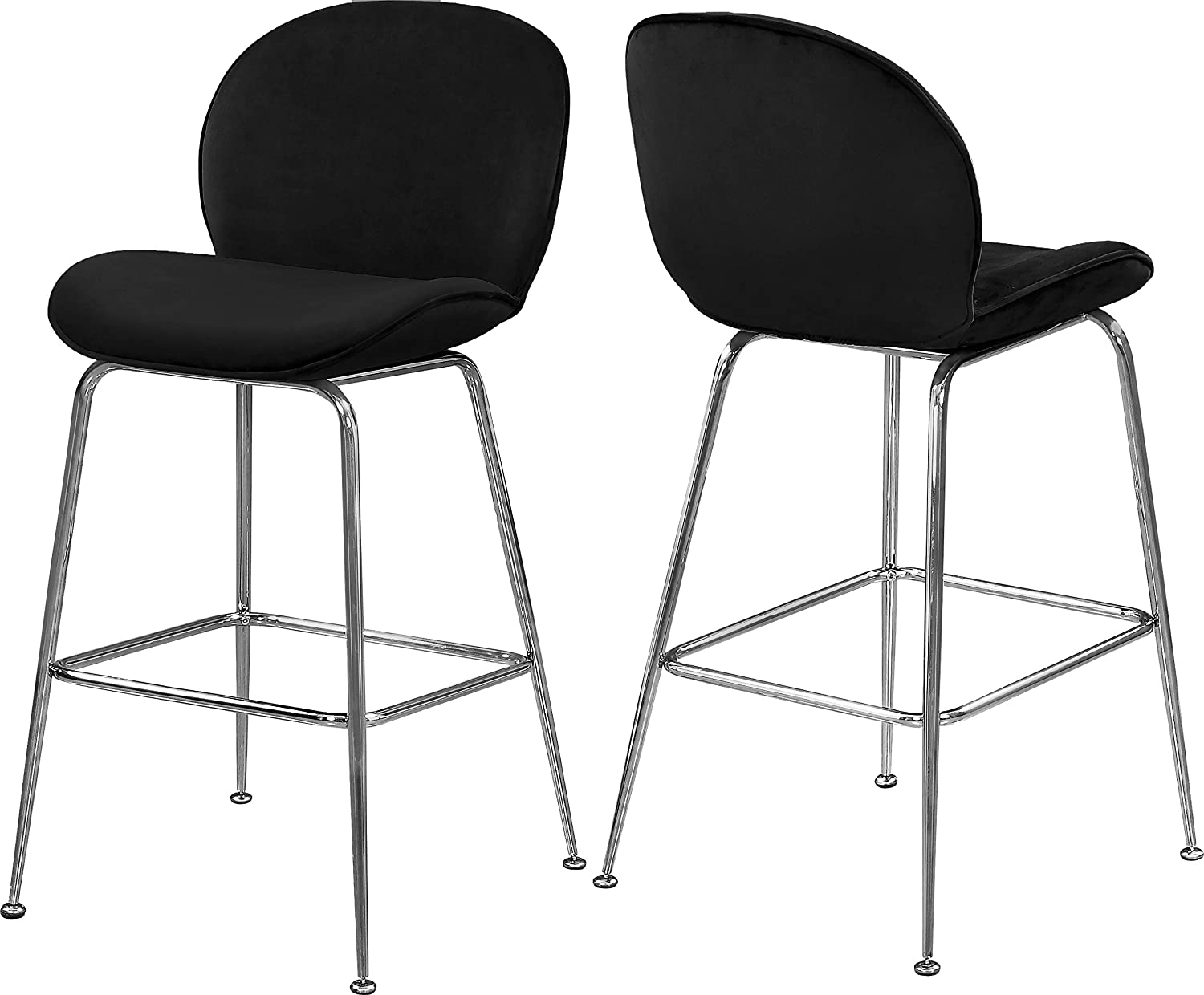 Meridian Furniture Paris Collection Modern   Contemporary Velvet Upholstered Counter Height Stool with Durable Metal Frame, Black, 21