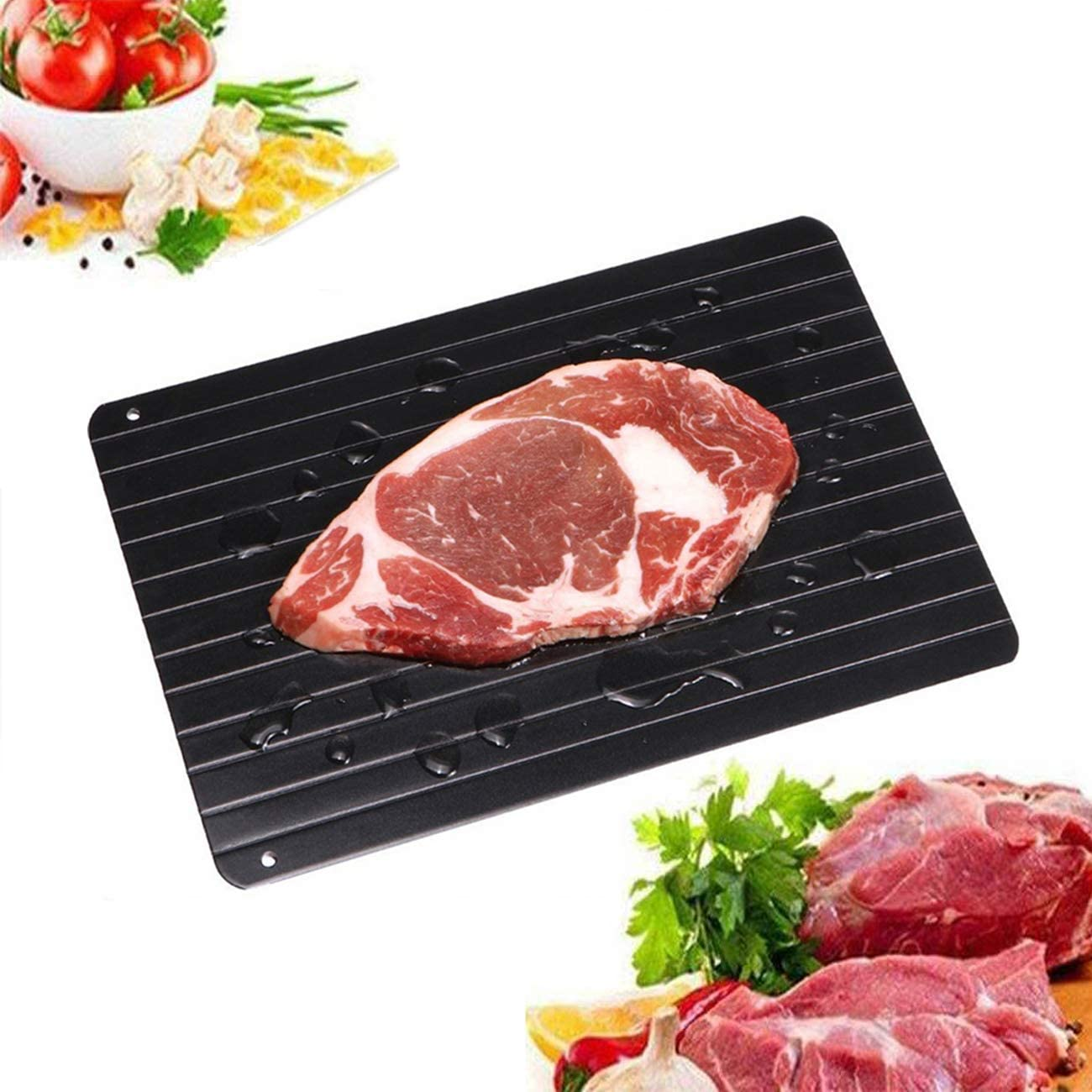 Fast Defrosting Tray for Natural Thawing Frozen Meat, Rapid Thawing Plate & Board for Frozen Meat & Food, Defrosting Mat Thaw Meat Quickly, Eco-friendly, No Electricity, No Chemicals, No Microwave