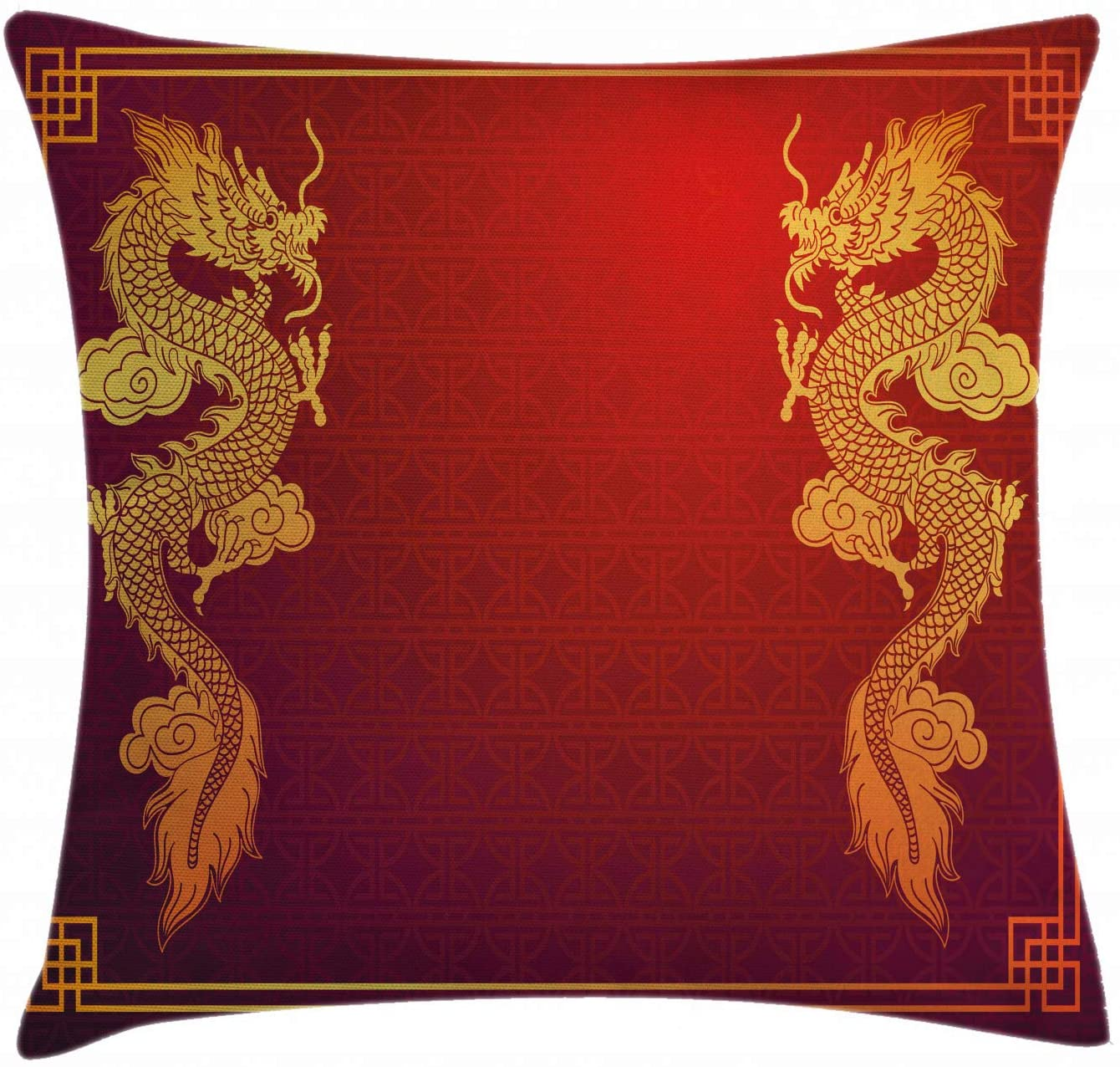 Ambesonne Dragon Throw Pillow Cushion Cover, Chinese Heritage Historical Eastern Motif with Creature Design, Decorative Square Accent Pillow Case, 16