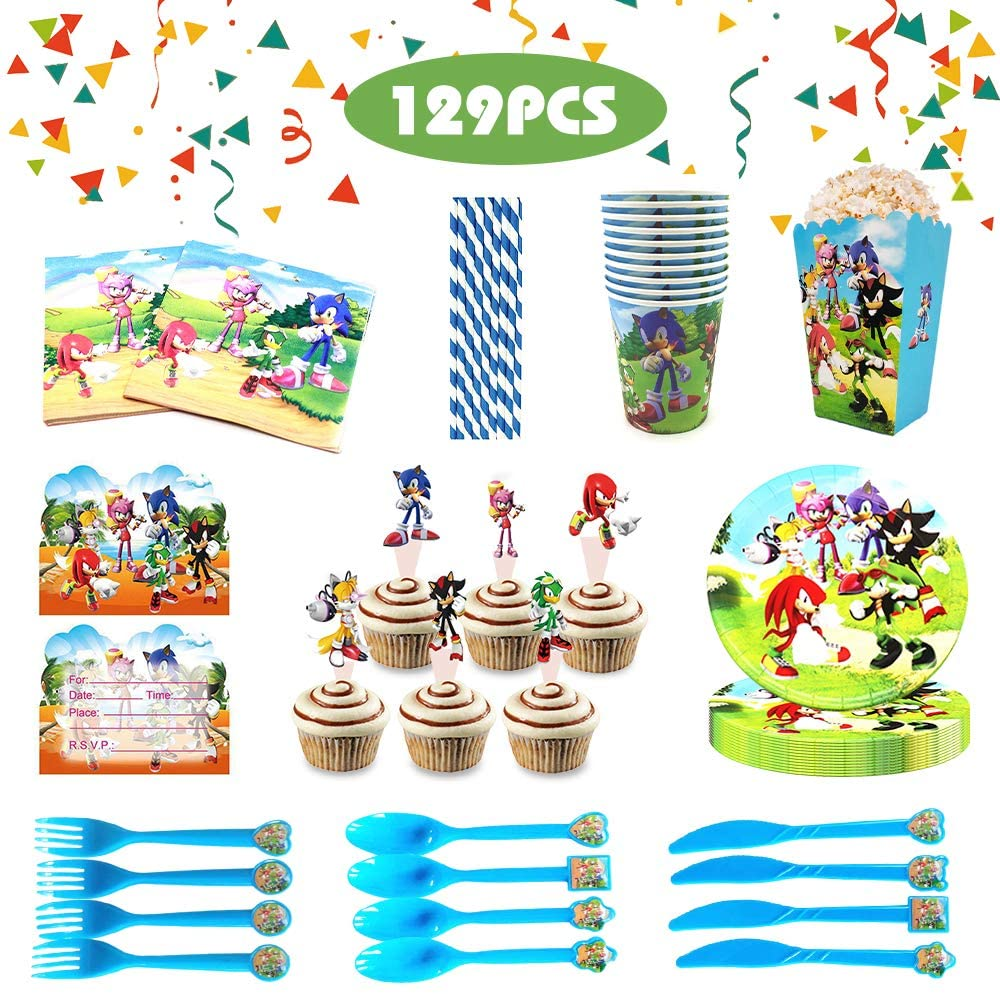 Sonic the Hedgehog Party Supplies for Kids,Sonic Party Decorations Sonic birthday party supplies-Tableware, Plates, Cups, Napkins, Popcorn box,Cupcake topper and Invitation Cards - 129 pcs