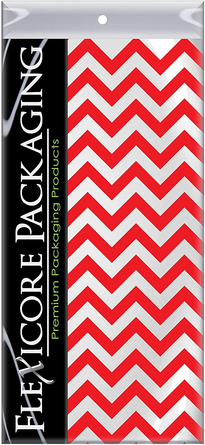 Flexicore Packaging Red Chevron Print Gift Wrap Tissue Paper Size: 15 Inch X 20 Inch | Count: 10 Sheets | Color: Red Chevron