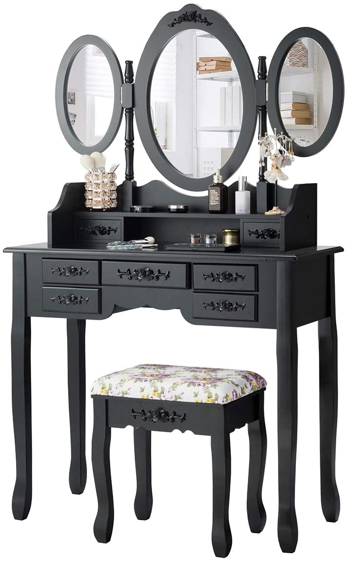 CHARMAID Vanity Set with Tri-Folding Mirror and Cushioned Stool, Dressing Table with 7 Drawers and a Shelf, Makeup Table Writing Desk with Removable Top, Makeup Vanity Set for Women Girls (Black)