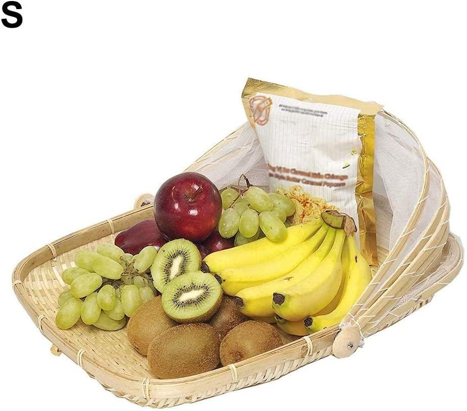 Food Serving Basket with Cover Covered Bamboo Serving Food Tent Basket Dustproof Round Picnic Basket Outdoor Mesh Tent Basket for Vegetable Fruit Bread