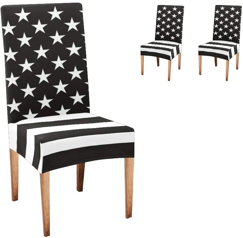 CUXWEOT Chair Covers for Dining Room Black White USA Flag Seat Covers Slipcovers for Party Decor (Set of 2)