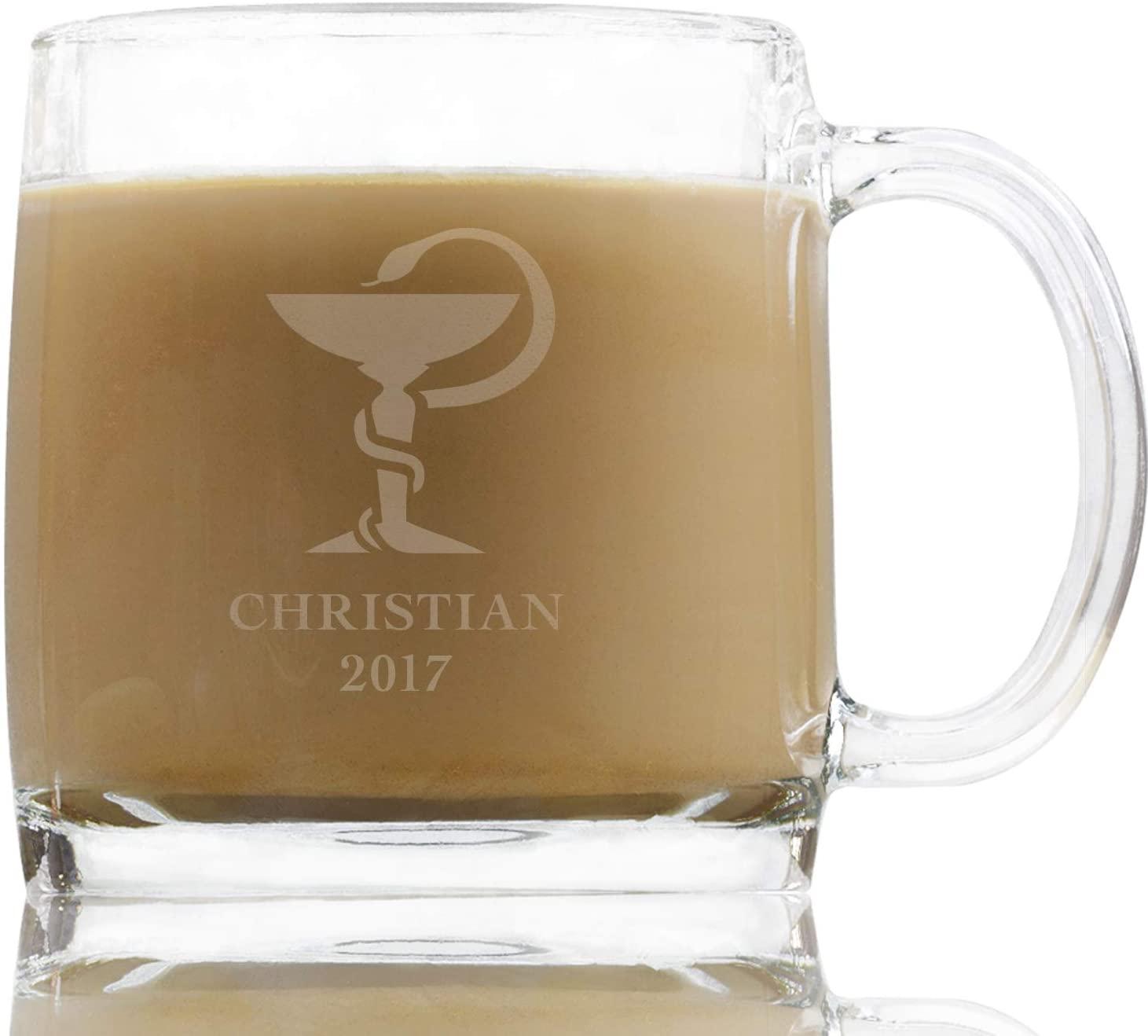Bowl of Hygieia Pharmacist 13 Ounce Glass Mug, Custom Coffee Mugs for Pharmacists Prescription RX