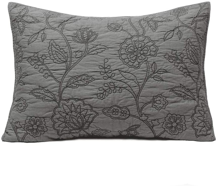ELEGANT LIFE HOME 100% Cotton Night Blossom Floral Pattern Embroidery Pillow Shams, Standard Size Pillow Cover, 20'' x 26'' + 0.5'' Flange, Grey