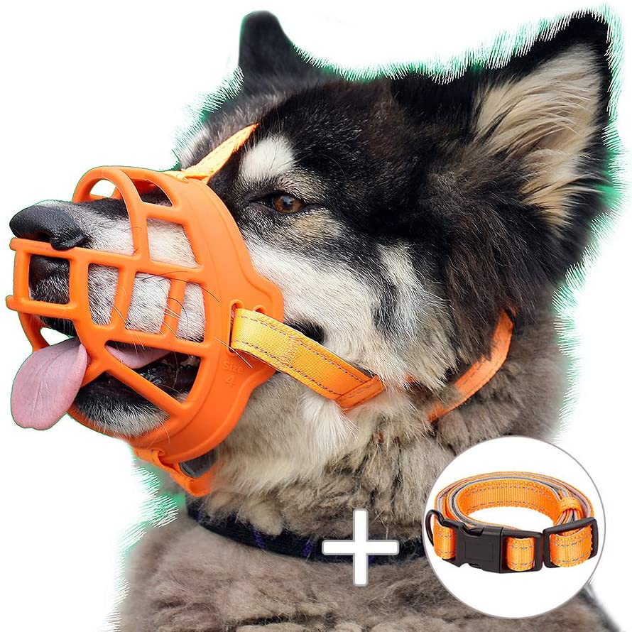 Dog Muzzle, Soft Silicone Basket Muzzle for Dogs, Allows Panting and Drinking, Prevents Unwanted Barking Biting and Chewing, Included Collar and Training Guide