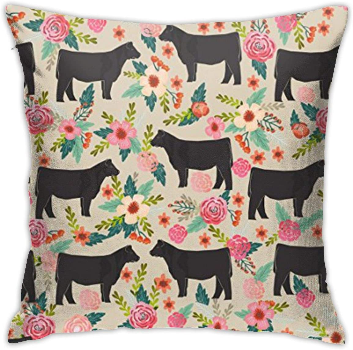 antfeagor Show Steer Cows Farm Barn Florals Design Pillow Covers Decorative 18x18 in Daily Sofa Throw Pillow Case Cushion Covers Zippered Pillowcase