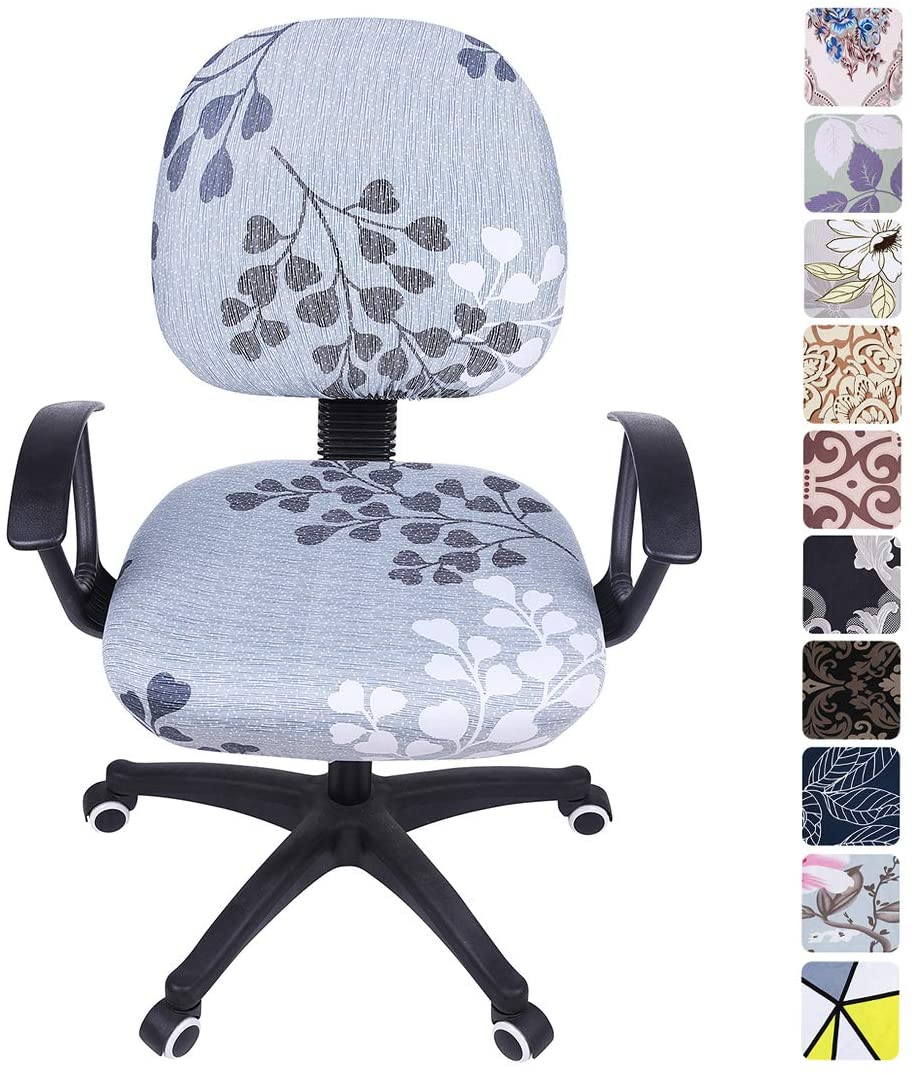 smiry Stretch Print Computer Office Chair Cover, Removable Washable Universal Desk Rotating Chair Slipcover, Grey Leaves