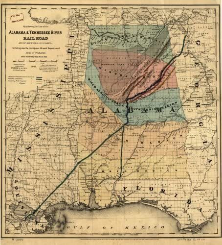 1867 Map showing the line of the Alabama & Tennessee River Rail Road and its proposed extensions; exhibiting also the contiguous mineral deposits and zone of production. County and township map of Ala