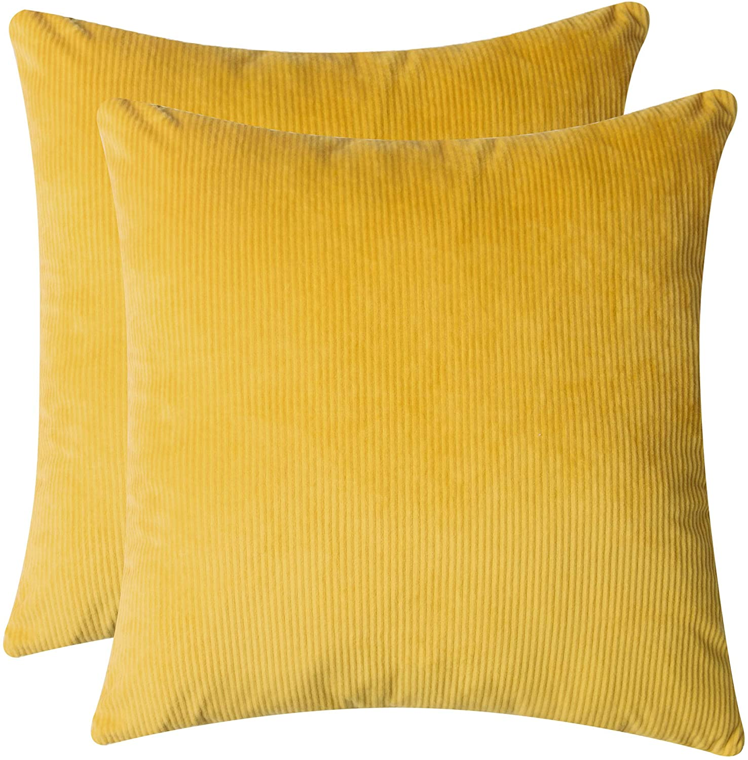 Glory Family Decor Pillow Covers Soft Decorative Striped Corduroy Velvet Square Summer Mustard Throw Pillow Sofa Cushion Covers Set Couch, 2 Pack, 18x18 inch (45cm) (Yellow-Strip)