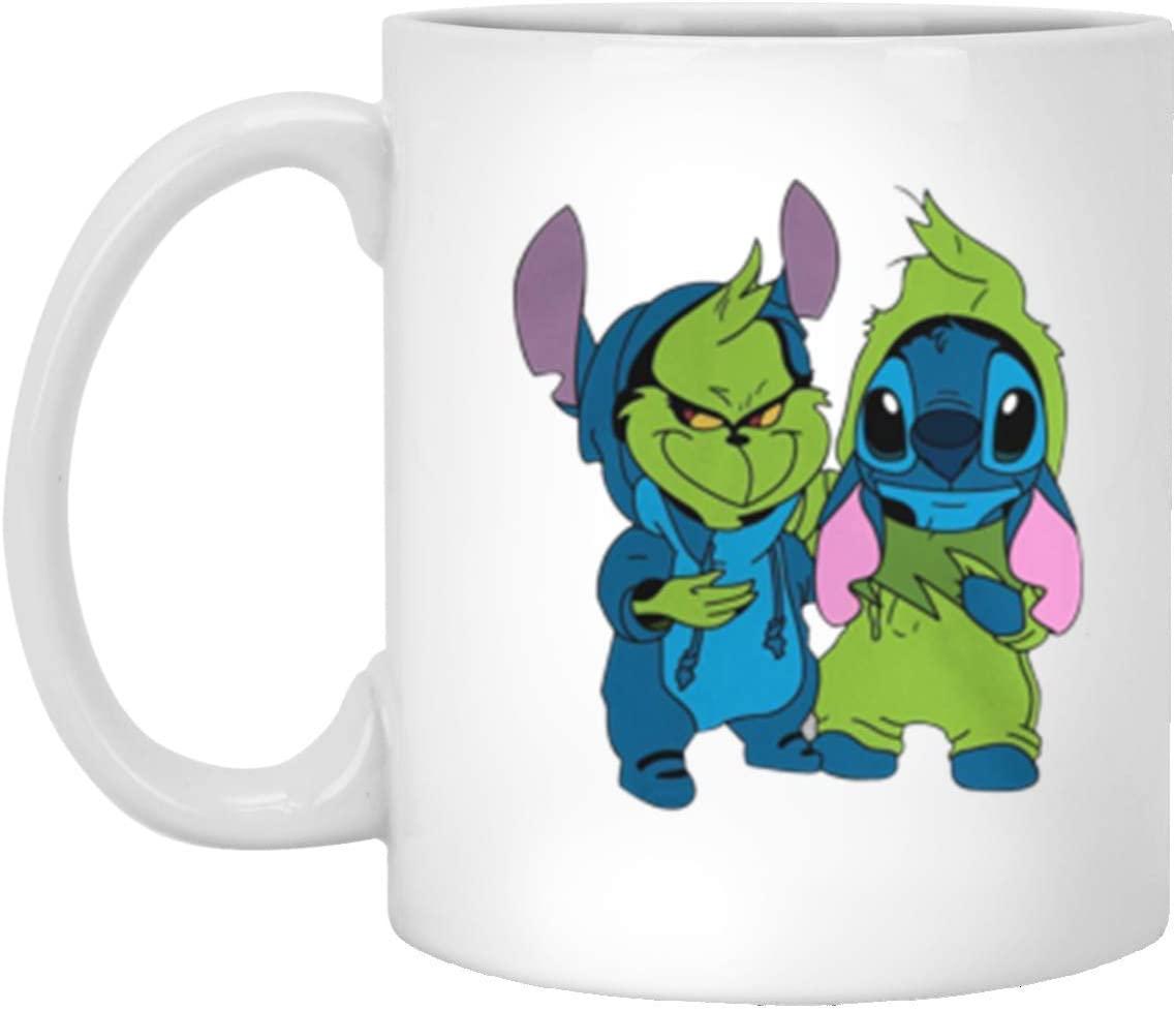 Stitch And Grinch Couple Mug 11 Oz White Ceramic Mug Birthday Children's Day Valentine Christmas Adorable Gift For Friend Daughter Son Sister Boy/Girlfriend Children