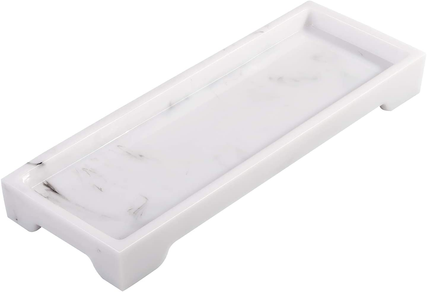 Lewondr Vanity Tray, 11.4 Inch Resin Decorative Tray Cosmetics Organizer Bathtub Bathroom Catchall Countertop Closet Dresser Storage Tray for Arranging Perfume Jewelry Toiletry Brushes - Ink White