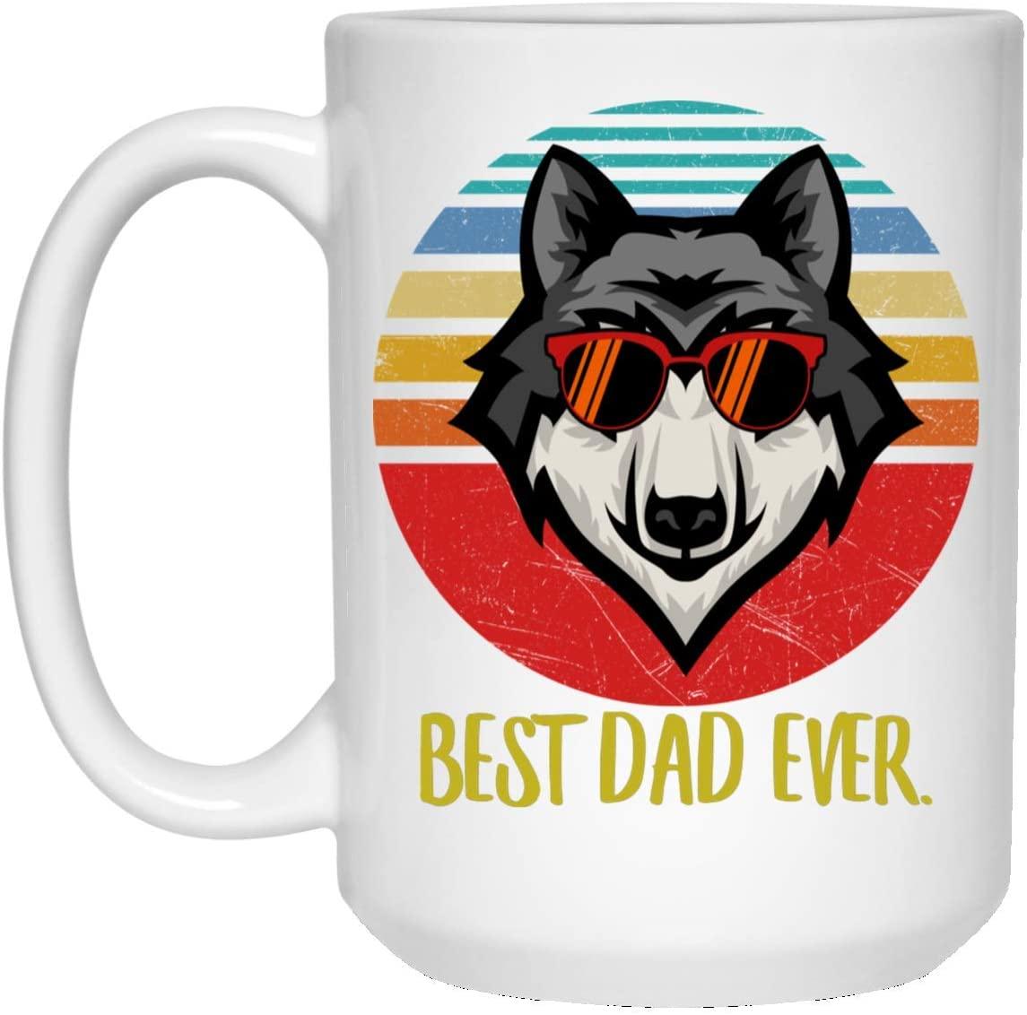 Funny Best Wolf 4 Dad Ever Sunset Retro Coffee Mug 15oz