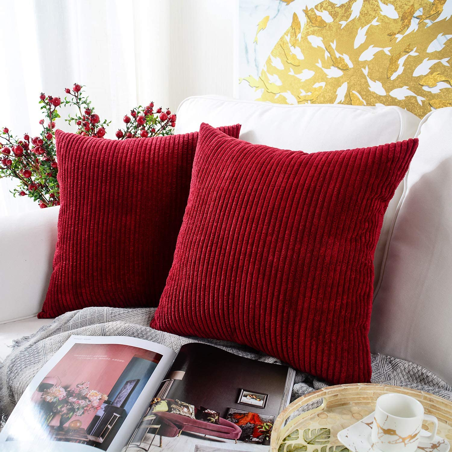 MERNETTE New Year/Christmas Decorations Corduroy Soft Decorative Square Throw Pillow Cover Cushion Covers Pillowcase, Home Decor for Party/Xmas 18x18 Inch/45x45 cm, Christmas Red, Set of 2