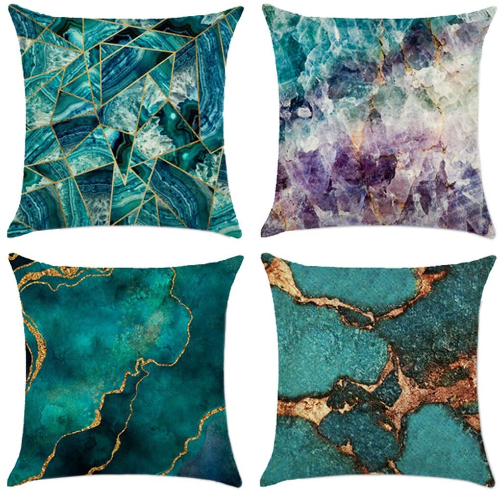 Symiiaus Marble Texture Throw Pillow Cover, Blue Green Golden Fluid Marble Hipster Ink Luxury Elegant Colorful Decorative Pillow Cases Square Cushion Covers for Home Sofa Couch 18x18 inch Blue