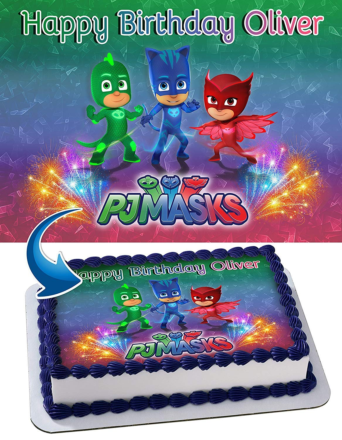 PJ Mask Edible Image Cake Topper Party Personalized 1/4 Sheet