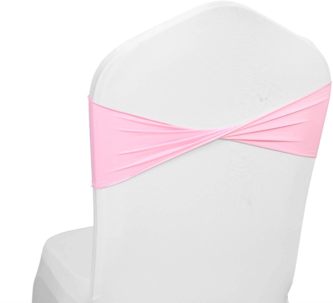 mds Pack of 50 Spandex Chair Sashes Bow sash Elastic Chair Bands Ties Without Buckle for Wedding and Events Decoration Lycra Slider Sashes Bow - Pink