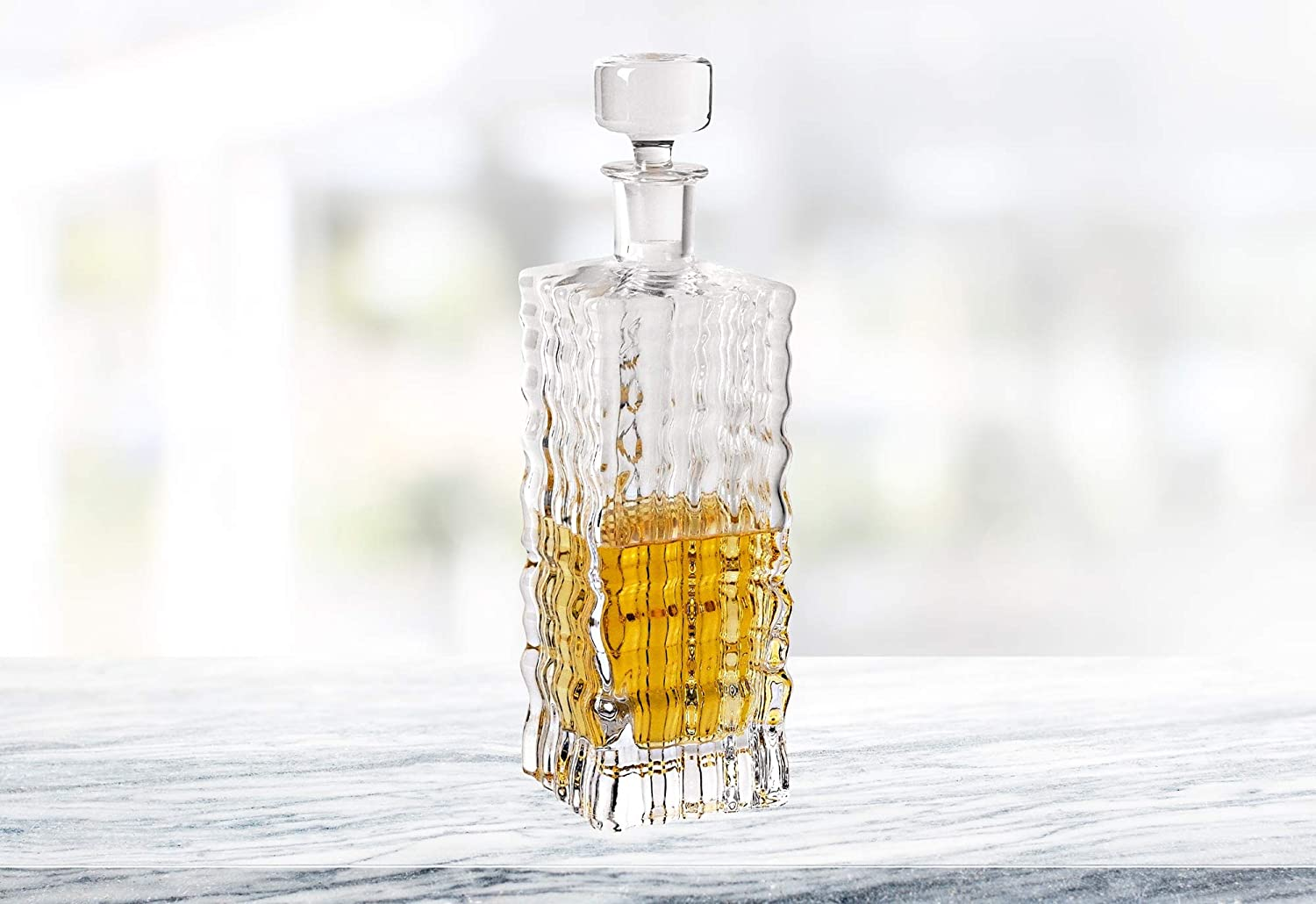 (D) Handcrafted 'Ripples' Lead Free Crystal Square Decanter or Carafe 28 Oz