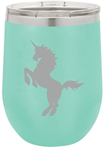 12 oz Double Wall Vacuum Insulated Stainless Steel Stemless Wine Tumbler Glass Coffee Travel Mug With Lid Unicorn (Teal)