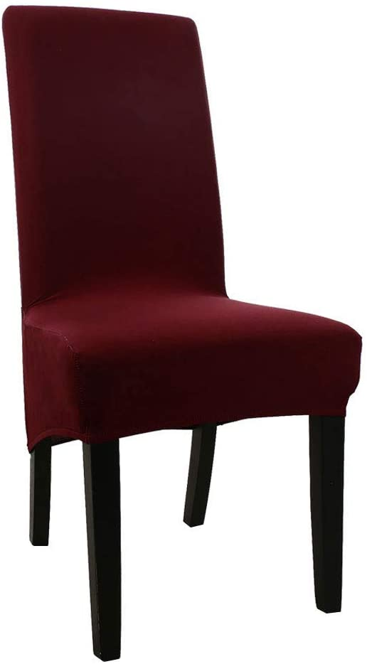 uxcell Soft Home Chair Cover Strech Spandex Long Back Dining Chair Seat Cover Protector Burgundy