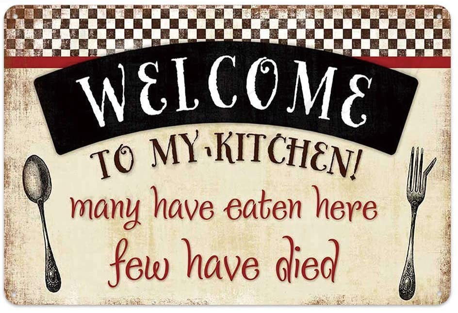 Original Retro Design Welcom To My Kitchen Tin Metal Wall Art Signs, Thick Tinplate Print Poster Wall Decoration