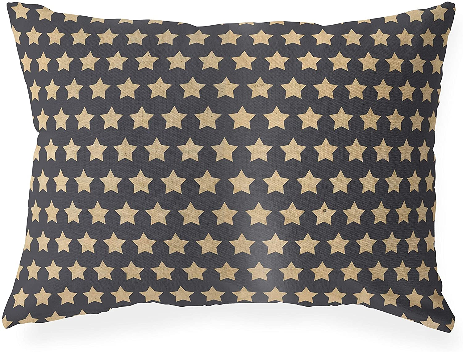 MISC Stars Blue Indoor|Outdoor Lumbar Pillow by Designs - 20x14 Blue Geometric Polyester Removable Cover
