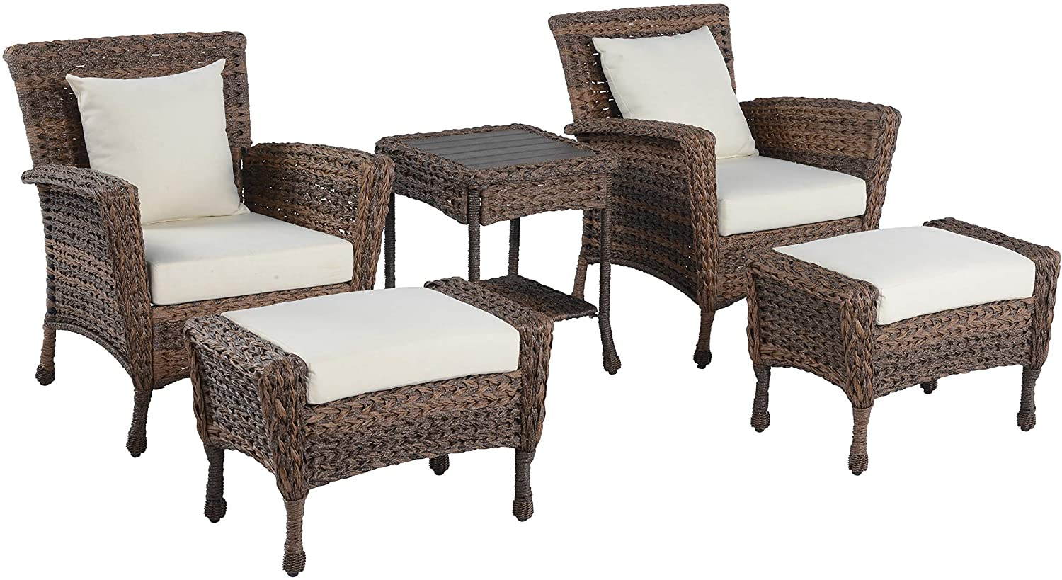 W Unlimited Rustic Collection Outdoor Garden Patio 5-PC Bistro Furniture Set, Brown