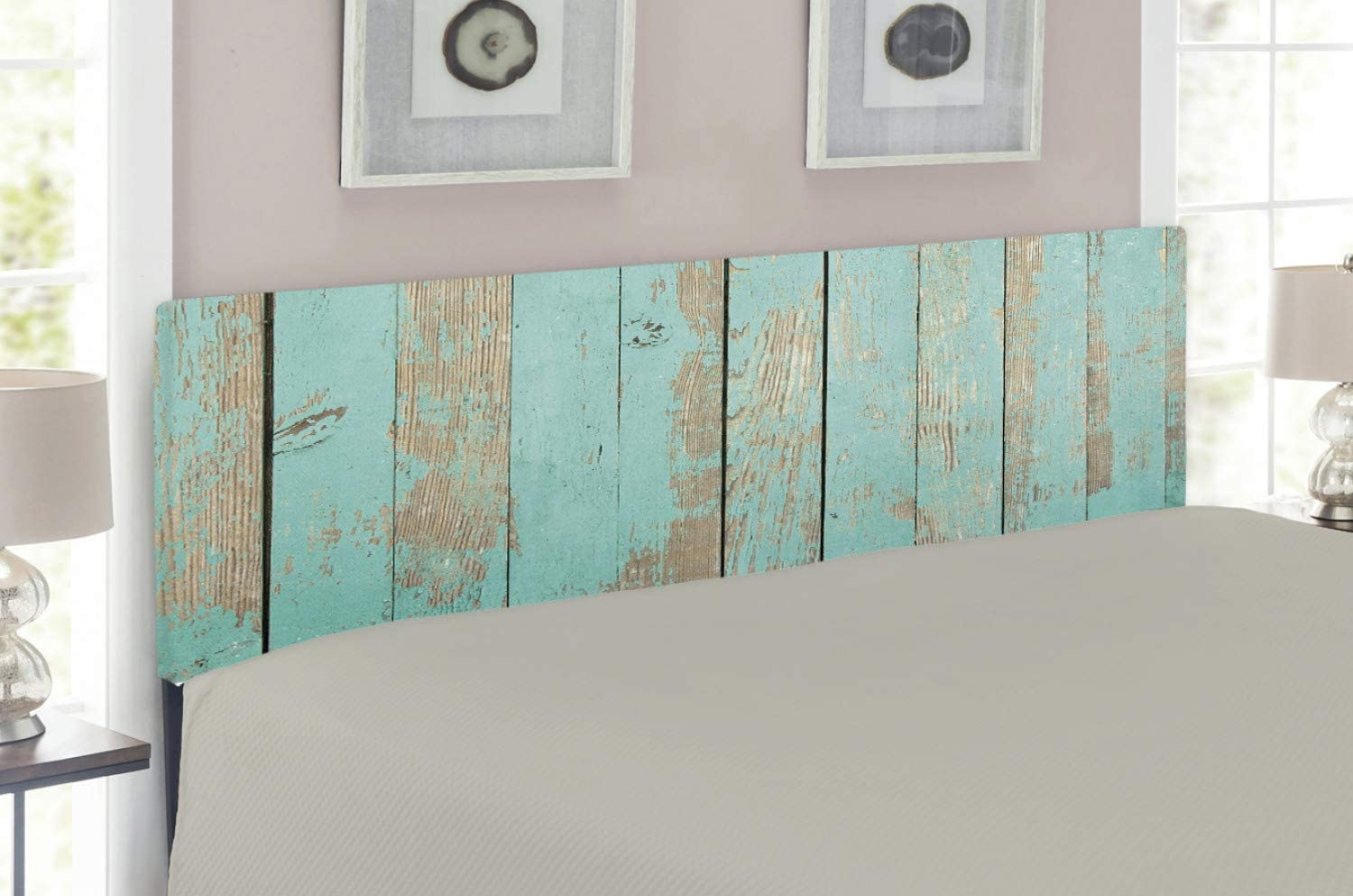 Lunarable Aqua Headboard, Worn Out Wooden Planks Faded Paint Marks Vintage Grunge Hardwood Image Rustic Design, Upholstered Decorative Metal Headboard with Memory Foam, for Full Size Bed, Aqua Tan